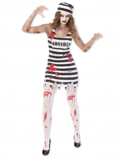 Zombie-Häftlilngskostüm für Damen schwarz-weiss-rot