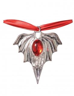 Vampirmedaillon Kette silber-rot