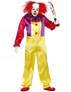 Horrorclown-Kostüm für Erwachsene gelb-rot-lila