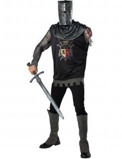 Armloser Ritter-Kostüm für Herren Halloweenkostüm grau-schwarz