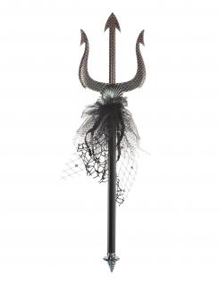 Dreizack Meerjungfrauen-Accessoire schwarz-silber 50 cm