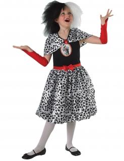Cruella™ Kinder-Kostüm für Halloween 101 Dalmatiner schwarz-weiss-rot