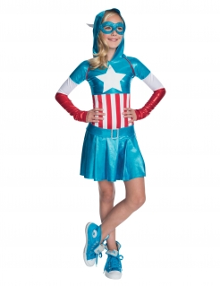 Captain America™-Kostüm für Mädchen blau-weiss-rot