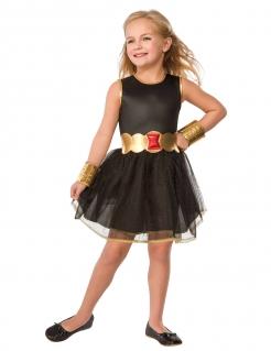 Black Widow™-Kostüm für Kinder Halloween schwarz-gold