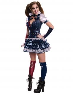 Harley Quinn™-Kostüm für Damen Arkham Night™ Lizenzkostüm weiss-blau-rot