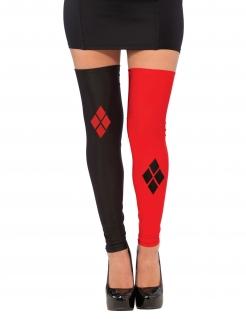 Harley Quinn™-Kniestrümpfe für Erwachsene Lizenzartikel schwarz-rot