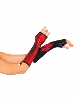 Harley Quinn™-Armstupen Handschuhe Lizenzartikel schwarz-rot