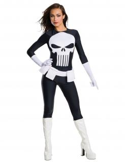 Punisher™-Damenkostüm Marvel™ Halloweenkostüm schwarz-weiss