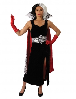 Cruella de Vil™-Damenkostüm Halloweenkostüm schwarz-rot-weiss
