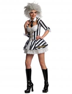 Beetlejuice™-Kostüm für Damen schwarz-weiss