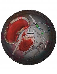 Blutige Pappteller mit Halloween-Werkzeug 8 Stück 23cm