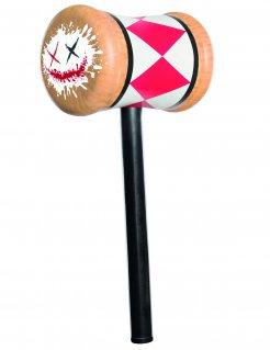 Kunststoff-Hammer Harley Quinn Suicide Squad™ Kostüm-Accessoire rot-weiss-braun 16x35cm