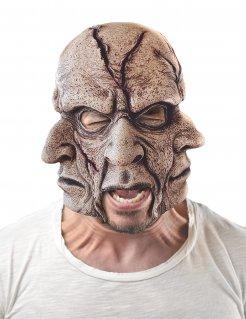 Alptraumhafte Multi-Gesichts-Maske für Erwachsene grau