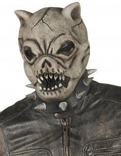 Horror-Hundemaske aus Latex grau-schwarz