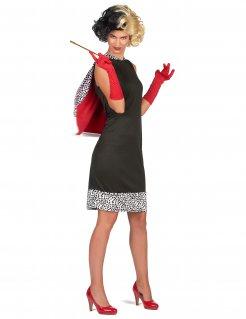 Diva Hundefängerin Damenkostüm für Karneval schwarz-weiss-rot