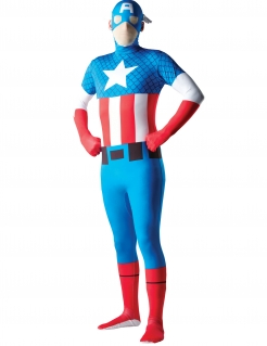 Captain America™-Kostüm Second Skin Halloweenkostüm blau-rot-weiss