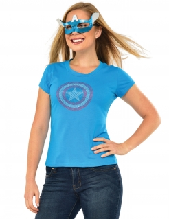 Captain America™-Damenkostüm blau-weiss-rot