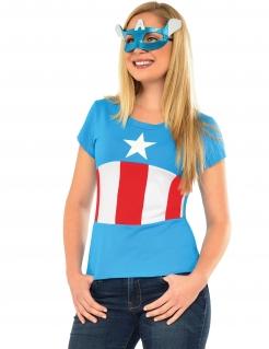Captain America™ Damenkostüm mit Maske blau-weiss-rot