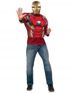 Iron Man™ Muskelshirt mit Maske rot-goldfarben-grau