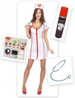 Zombie-Krankenschwester Halloween-Kostümset 13-teilig weiss-rot