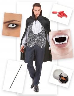 Vampir Halloween-Kostümset für Herren 15-teilig schwarz-weiss