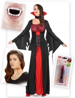 Vampirgräfin Halloween-Kostümset schwarz-weiss-rot