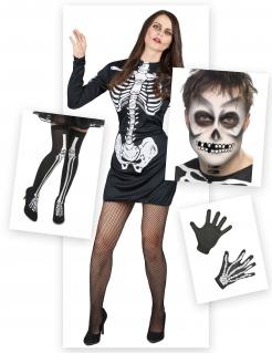 Skelettkostüm-Set für Damen 6-teilig schwarz-weiss