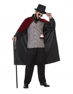 Elegantes Vampir-Lord Kostüm für Herren schwarz-grau-rot