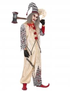 Zombie-Harlekin Herrenkostüm für Halloween schwarz-weiss-rot