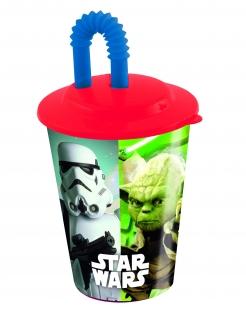 Star Wars™ Trinkbecher mit Strohhalm Lizenzartikel bunt 400ml