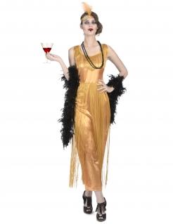 Charleston Vampir-Damenkostüm Set 7-teilig gold-schwarz