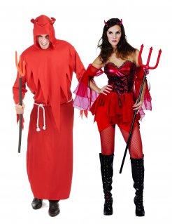 Teuflisches Paarkostüm für Halloween rot