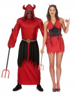 Sinnliches Teufel-Paarkostüm für Halloween Devil-Paarkostüm rot-schwarz
