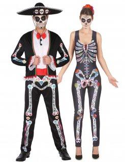 Dia de los Muertos-Paarkostüm für Halloween bunt