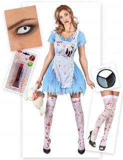 Zombie-Alice Kostüm-Set für Erwachsene 7-teilig blau-weiß-rot