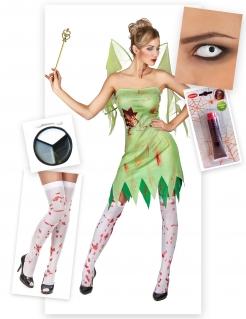Blutiges Feen-Kostüm für Halloween 6-teilig grün-weiss-rot