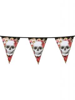 Totenkopf-Girlande Sugar Skull Halloween-Accessoire schwarz-weiss-rosa 6m