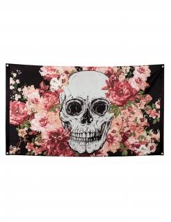 Totenkopf-Flagge mit Blumen Halloween-Wanddeko schwarz-rosa-weiss 90x150cm