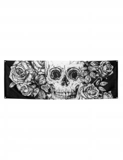 Halloween-Banner mit Totenkopf und Blumen Halloween-Wanddeko schwarz-weiss 74x220cm