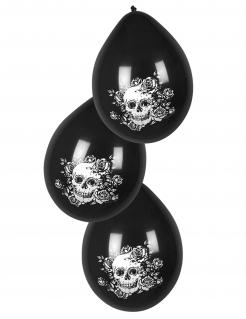 Halloween-Ballons Totenschädel und Blumen 6 Stück schwarz-weiss
