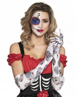 Tag der Toten-Damenhandschuhe für Erwachsene bunt