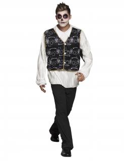 Mexikanisches Skelettkostüm für Herren schwarz-weiss