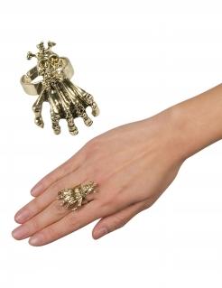 Klauen-Ring mit Schädel für Erwachsene goldfarben