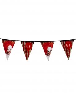 Killerclown-Girlande Halloween-Dekoration rot-weiss-schwarz 30x600cm