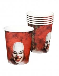 Killerclown-Trinkbecher Halloween Tischdeko 6 Stück rot-weiss-schwarz 250ml