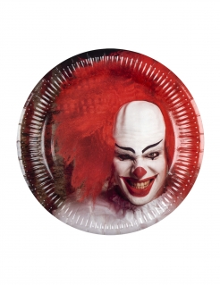 Killerclown-Pappteller Halloween-Tischdeko 6 Stück rot-weiss-schwarz 23cm