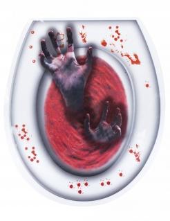 Halloween-Toilettenaufkleber Zombiehände weiss-rot 28x32cm