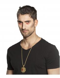 Vampir-Medaillon für Erwachsene goldfarben-rot