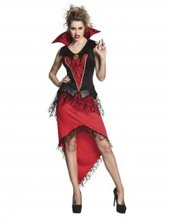 Edles Vampirkostüm für Damen schwarz-rot