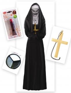 Nonne der Finsternis Damen-Kostüm für Halloween 5-teilig schwarz-weiss